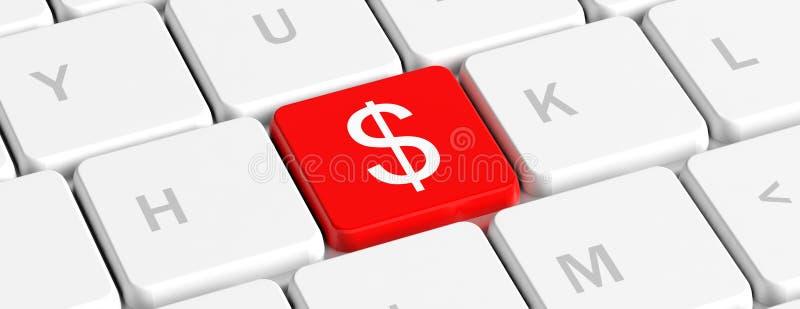 USD,金钱 有美元的符号的在键盘,横幅红色关键按钮 3d例证 向量例证