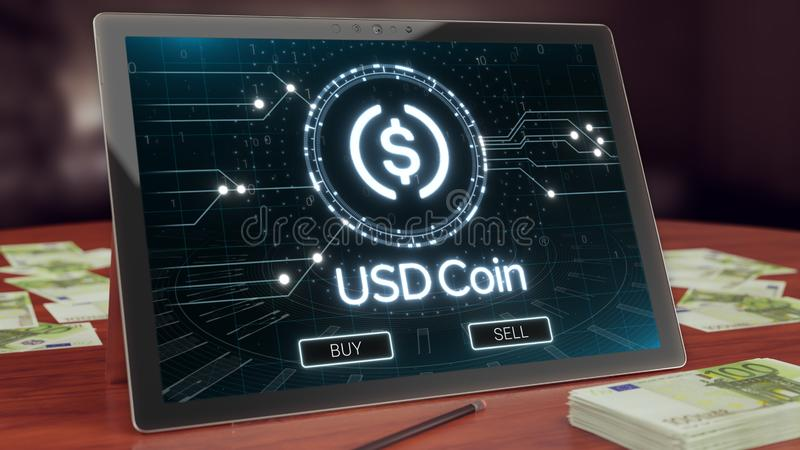 Usd coin cryptocurrency logo on the pc tablet display. Neon bright blockchain symbol. Usd coin cryptocurrency logo on the pc tablet display. Neon bright royalty free illustration