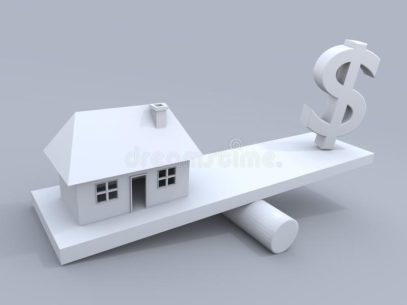 USD contre des maisons photos stock