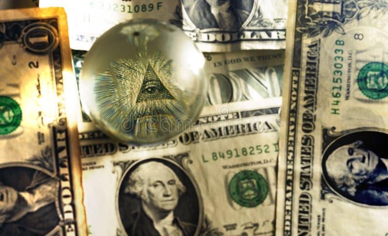 USD de billet d'un dollar d'oeil de maçon de pyramide photos libres de droits