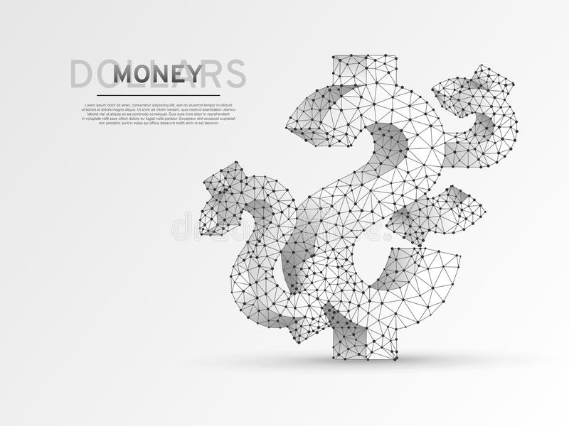 USD dollar wireframe digital. Low poly business, data cash, and finance. Vector polygonal origami money symbol royalty free illustration
