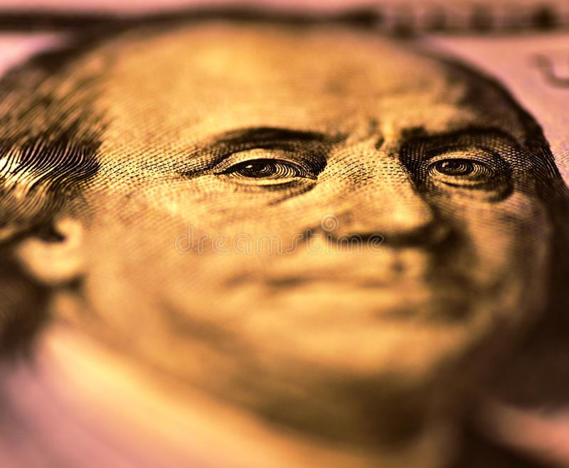 100USD Obverse – Benjamin Franklin is watching you stock photos
