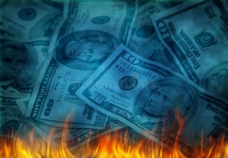 USD w płomieniach royalty ilustracja