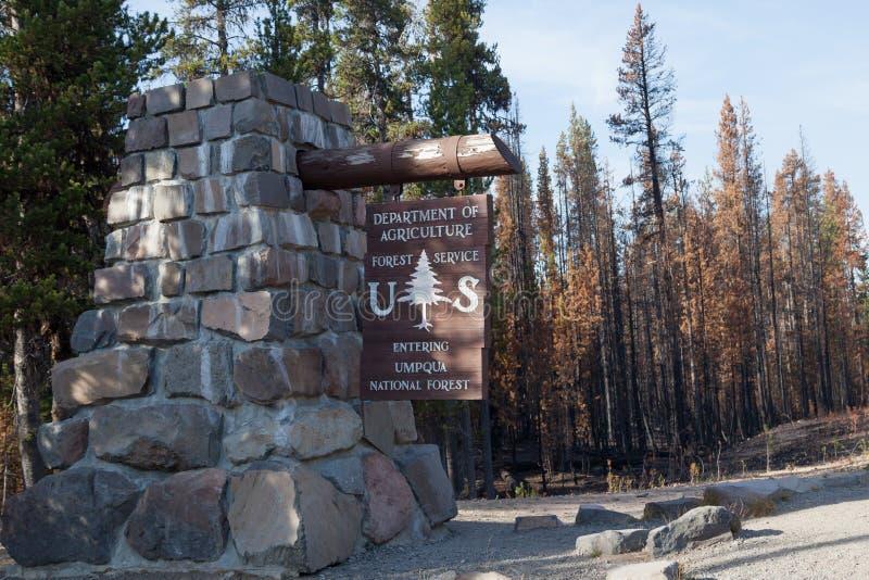 USDA Forest Service Sign for Umpqua stock photography