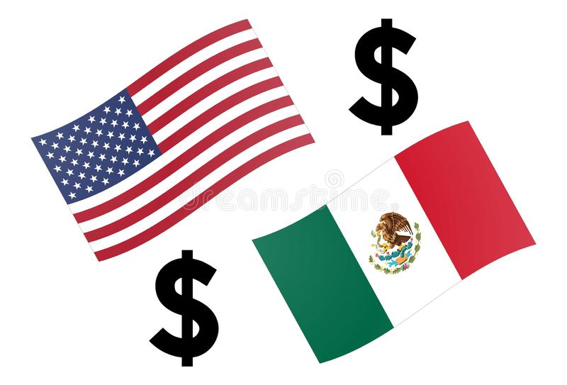 USDMXN forex currency pair vector illustration. American and Mexican flag, with Dollar symbol vector illustration