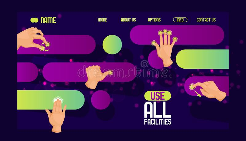 Use all facilities website design. User friendly interface symbols, moves banner. Mobile tablet touch screen hand. Gestures flat icons collection abstract royalty free illustration