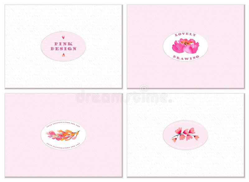 A set of four cards with a cute design and watercolor floral elements. stock illustration