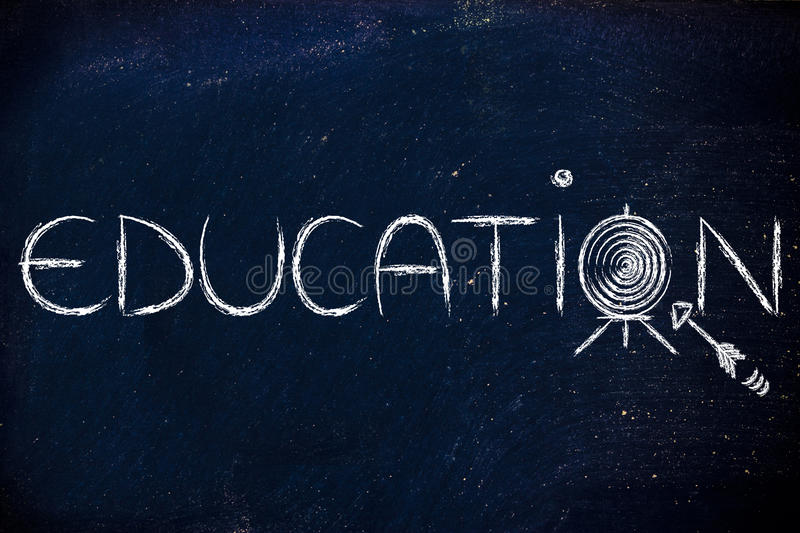 Use education to hit your targets in life. Hit your targets in life, concept of success through education royalty free stock image