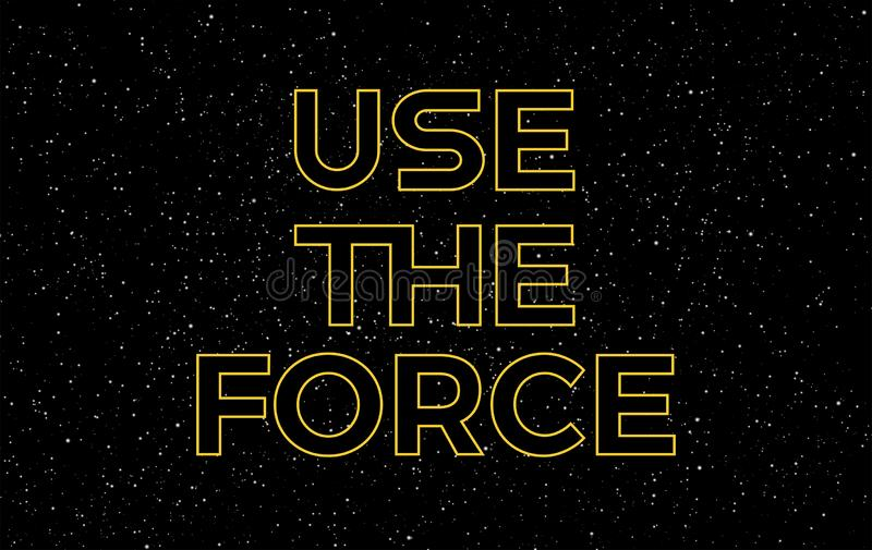 Use the force yellow text on starry night sky background - vector stars space background royalty free illustration