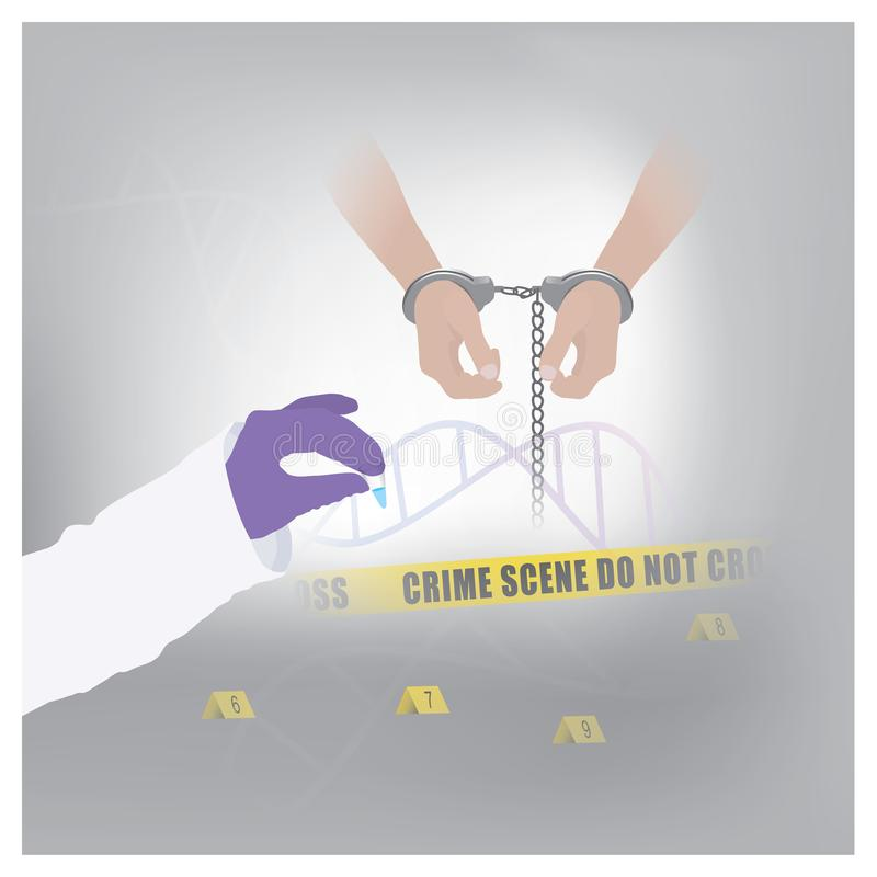 Use forensic methods to confirm the offender Secretions and forensic evidence can be used as evidence for catching a murderer. Illustration infographic stock illustration
