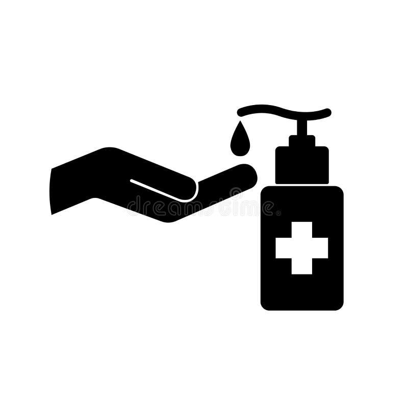 Free Use Hand Sanitizer Black Icon ,Vector Illustration, Isolate On White Background Label. EPS10 Royalty Free Stock Photos - 181911648