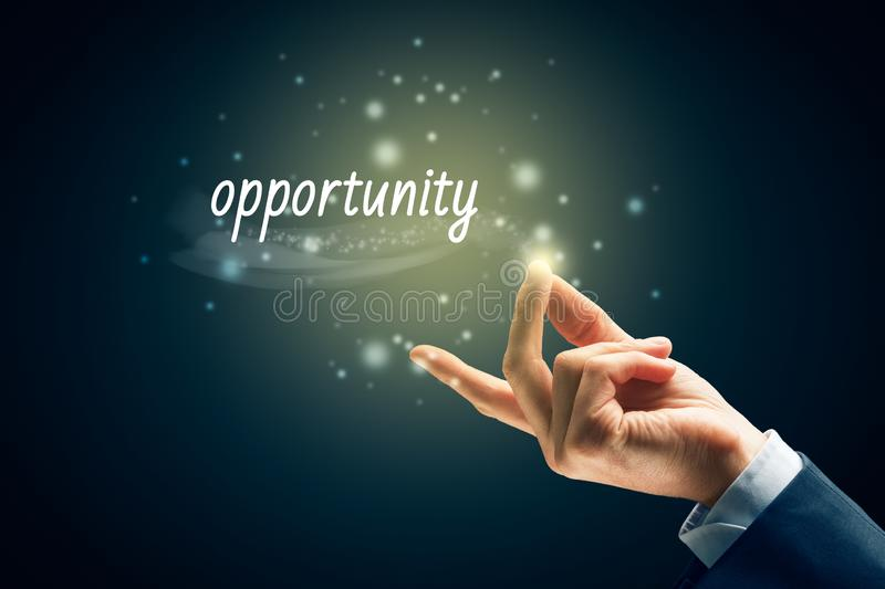 Use the opportunity concept. Is easy as snap fingers. Magic of opportunity concept stock image