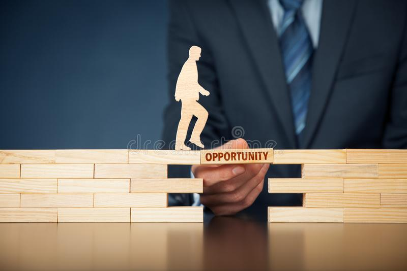Use the opportunity personal development concept. Coach motivate use the opportunity - personal development concept. Mentor helps with opportunity challenge royalty free stock images