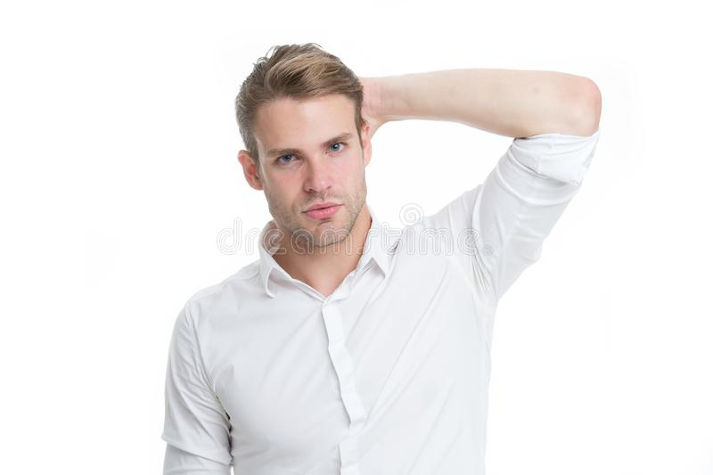 Use right product styling hair. Confident with tidy hairstyle. Barber hairstyle tips. Man bearded guy think which royalty free stock photography