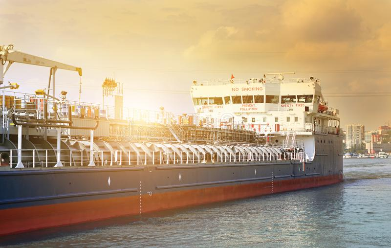The use of sea and river transport for sending LNG across the sea. Oil and gas business in developing countries royalty free stock photo