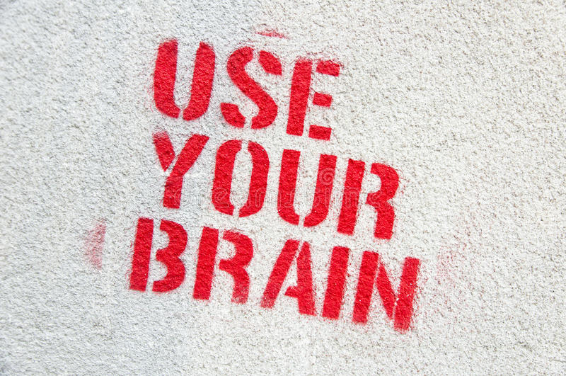 Use Your Brain graffiti stock image