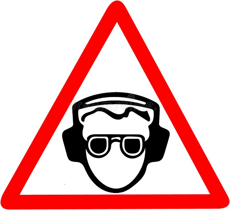 Use your ear protection, noise pollution, Be sure to use soundproof headphones warning. Red prohibition warning symbol royalty free illustration