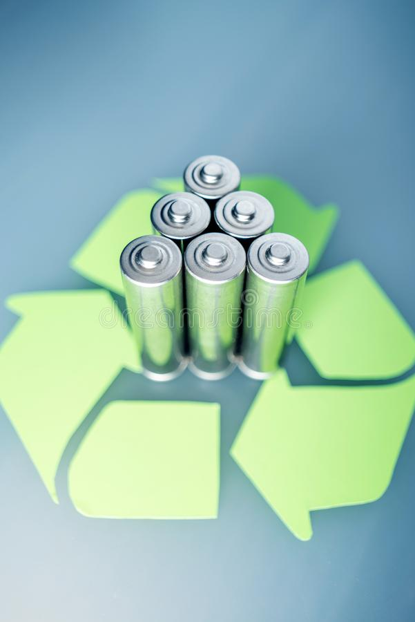 Proper disposal of toxic to the soil environment and batteries. Recycling of harmful substances for ecological. Used AA and proper disposal of toxic to the stock photos