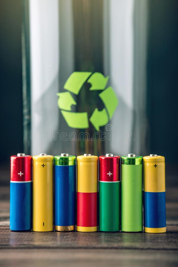 Proper disposal of toxic to the soil environment and batteries. Recycling of harmful substances for ecological. Used AA and proper disposal of toxic to the stock image