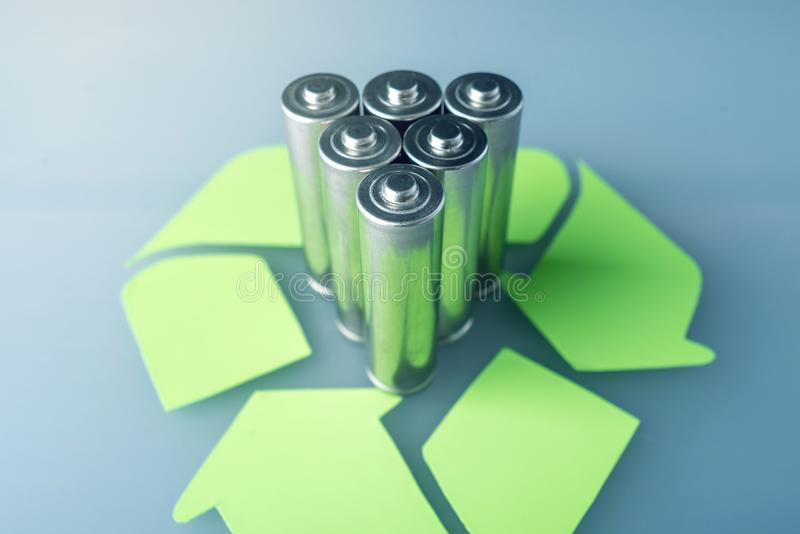 Proper disposal of toxic to the soil environment and batteries. Recycling of harmful substances for ecological. Used AA and proper disposal of toxic to the stock images