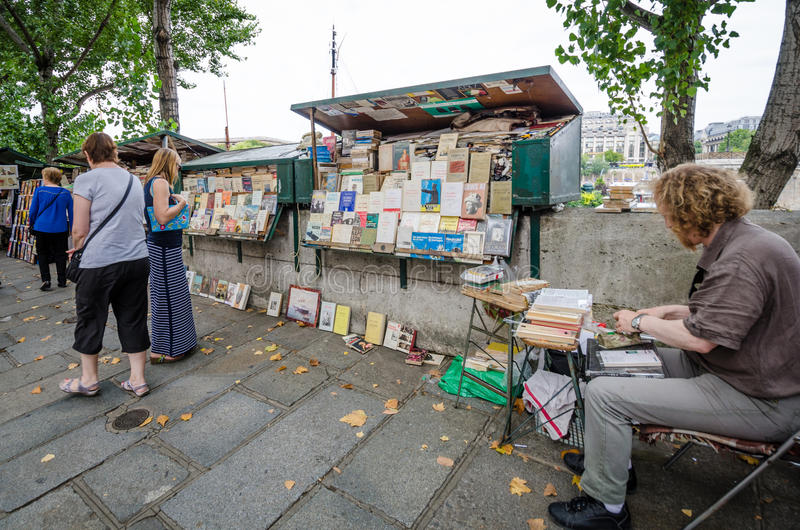 Used and antiquarian books for sale left bank of the Seine royalty free stock image