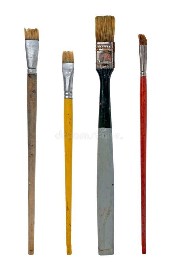 Used art brushes royalty free stock images
