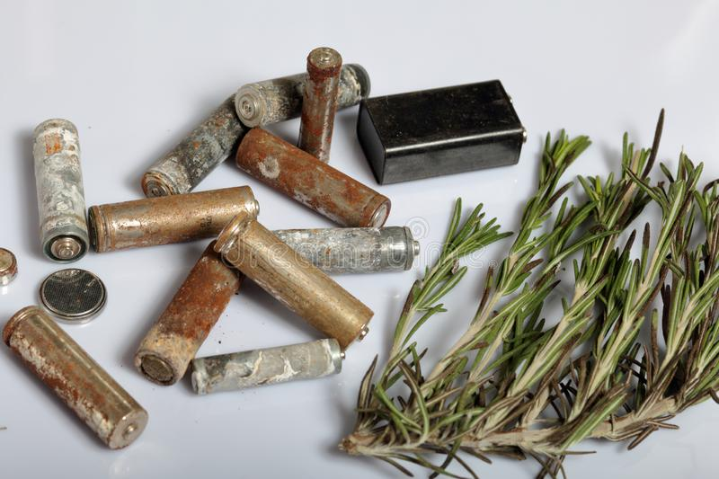 Used batteries and a branch of greens. Recycling waste batteries. Environmental Protection. Earth Day.  royalty free stock photography