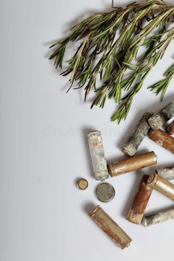 Used batteries and a branch of greens. Recycling waste batteries. Environmental Protection. Earth Day.  stock image