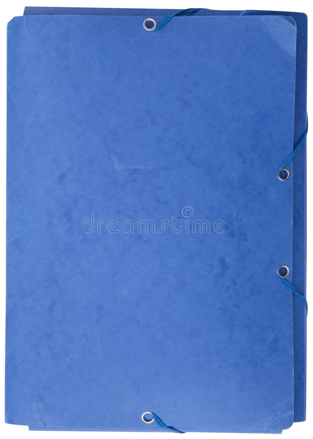 Used blue cardboard folder with elastic bands. Isolated on white background stock photos