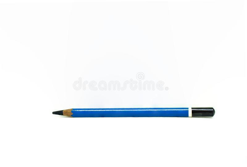 Used blue pencil isolated on white background. stock image