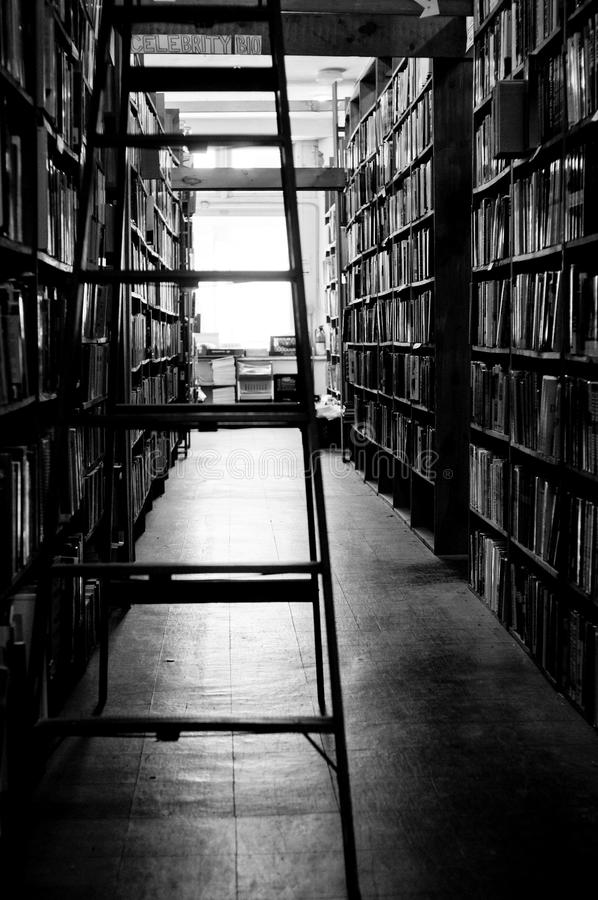 Used bookstore. An aisle in a used bookstore royalty free stock image