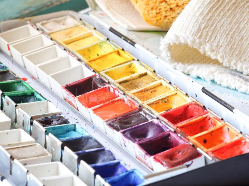 Watercolor box. A used box of watercolors royalty free stock photo