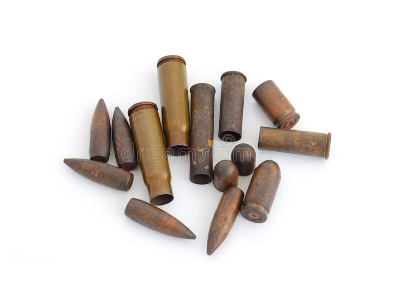 Used bullets stock photography