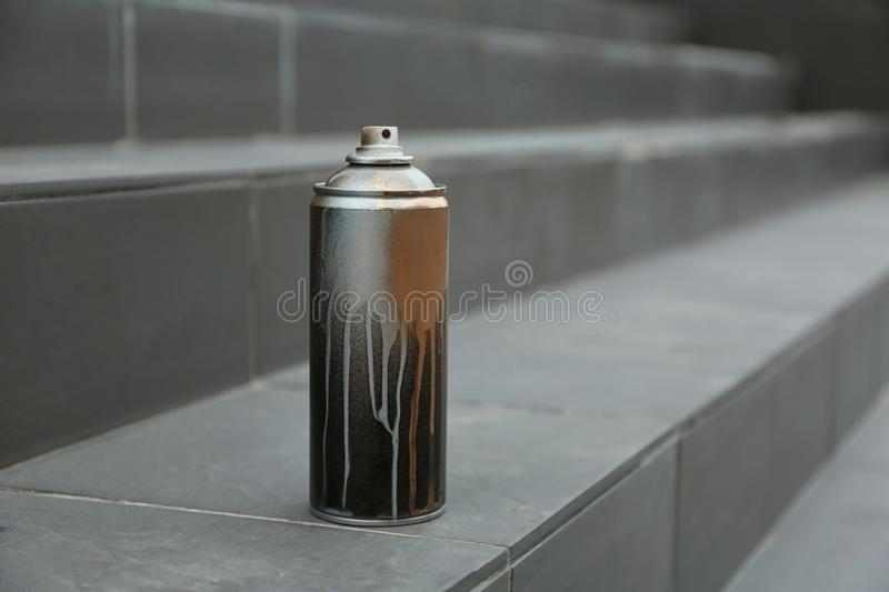 Used can of spray paint on stairs. stock photography