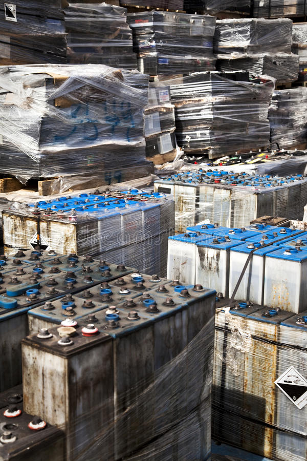 Used Car Batteries Waiting To Be Recycled stock photos