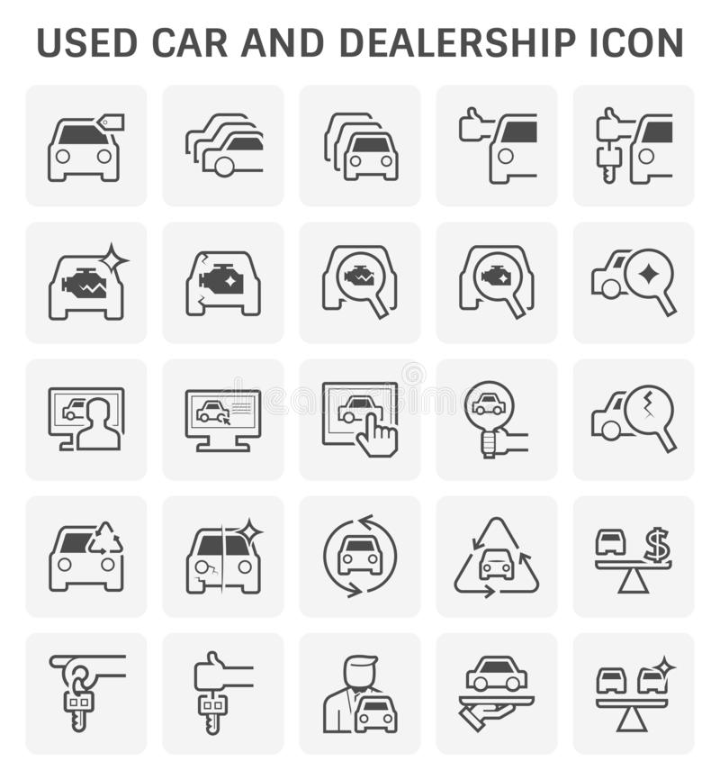 Used car and dealership icon set for used car business design stock illustration