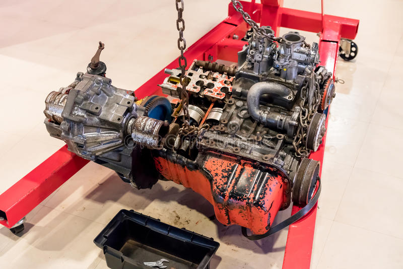 Used car engine for display royalty free stock image