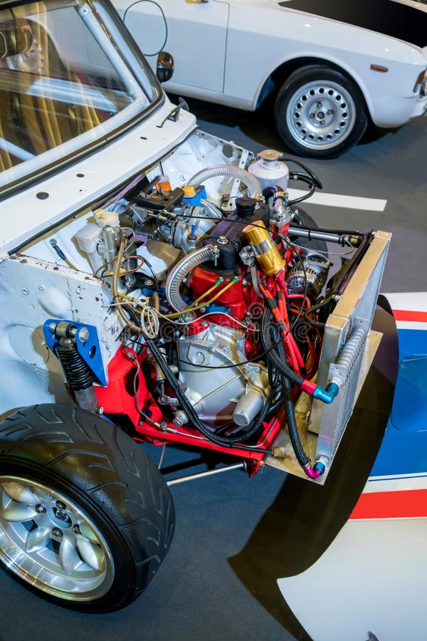 Used car engine for display in exhibition. Used vintage car engine for display in exhibition royalty free stock photo