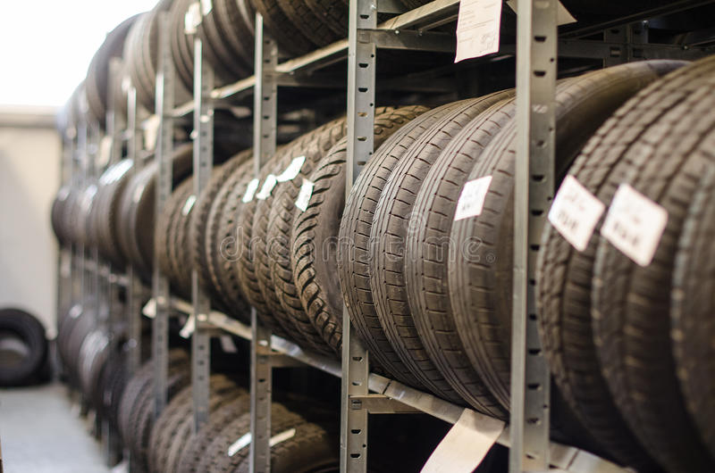 Used car tires. stock images
