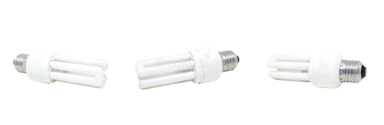 Used compact fluorescent bulb isolated on white background. Group of used compact fluorescent bulb isolated on white background stock image