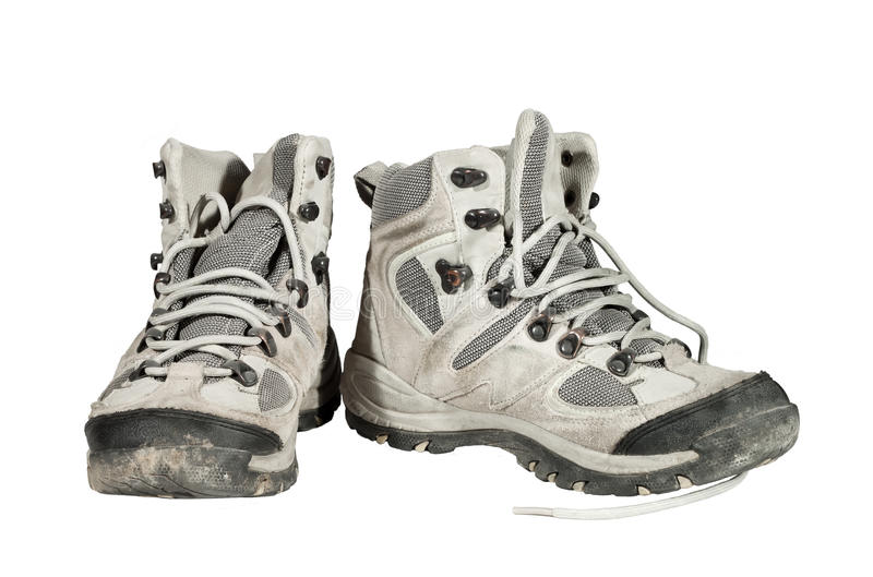 Used and dirty sport shoes stock photos