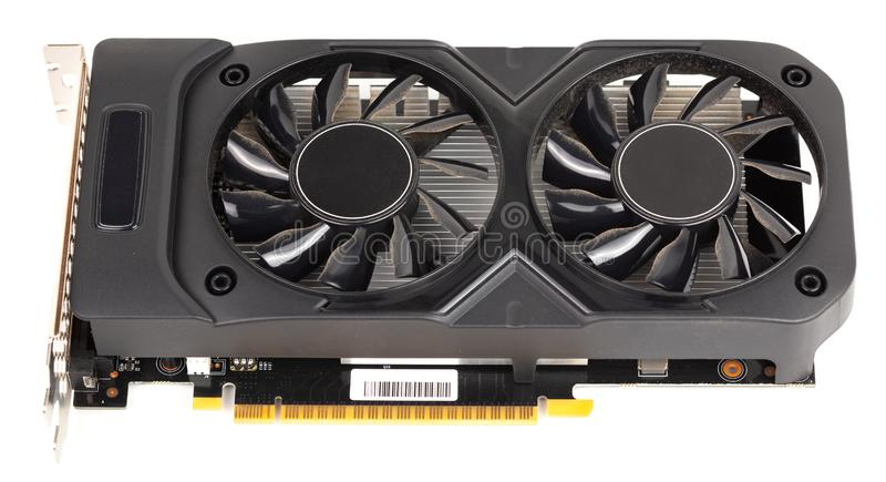Used and dusty black PC video card isolated on white background.  stock images