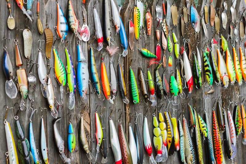 Used fishing lures stock photo