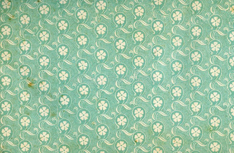 Used floral vintage wallpaper stock photography