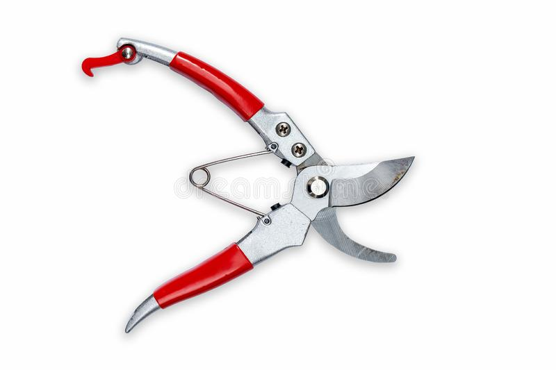 Used High Quality Pruning Shears on iSolated White Background. C royalty free stock photos