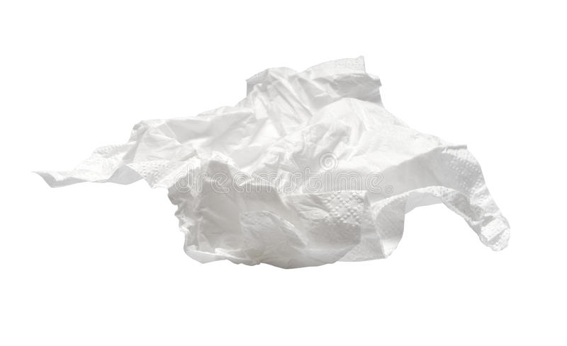 Used napkin isolated on white. With clipping path royalty free stock image