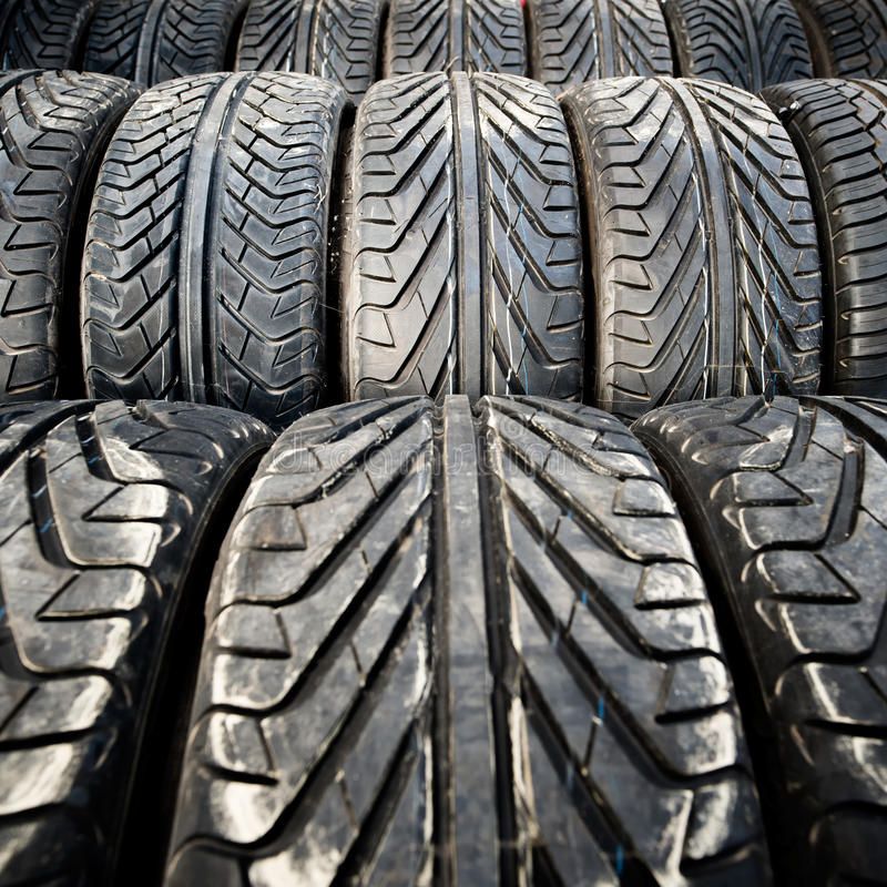 Used old car tires detail pattern, background or texture royalty free stock photography