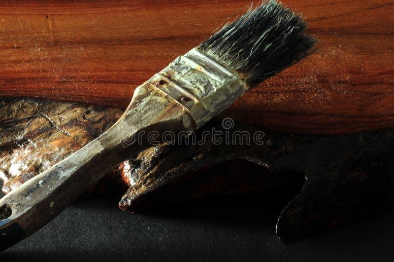 Used paint brush royalty free stock image