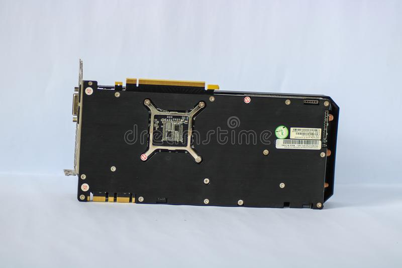 A used Palit GeForce GTX 1070 Dual showing the back side of the Graphics Card Unit GPU. CAMARINES SUR, PHILIPPINES - OCT 28, 2018: A used Palit GeForce GTX 1070 stock photography