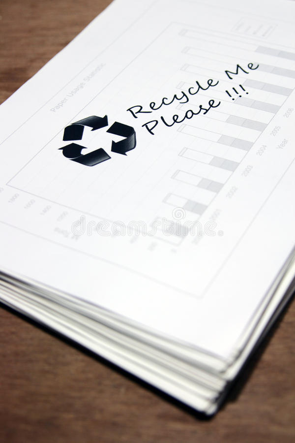 Used paper with recycle sign. Stack of used paper with recycle sign stock images